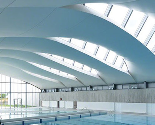 Barrisol Curved Roof Swimming Pool Installation