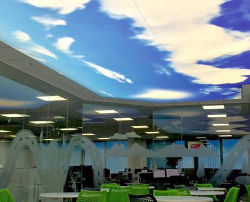 Barrisol Illuminated Commercial Ceiling Installation